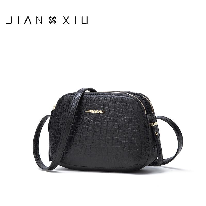 JIANXIU العلامة التجارية جلد طبيعي حقيبة التمساح الملمس النساء رسول حقائب الكتف Crossbody حقيبة صغيرة 2020 Newset حمل 2 الألوان