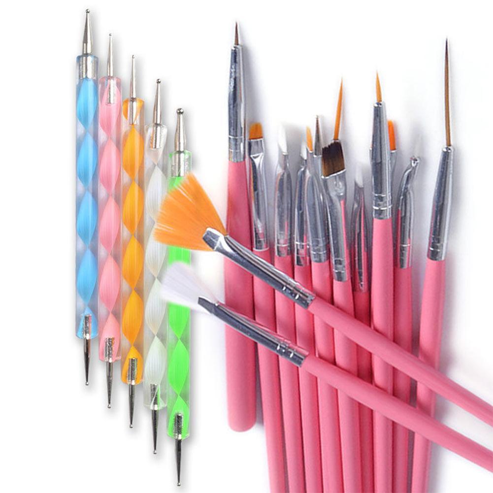 20 Pcs/Set Pro DIY Nail Art Design Painting Drawing Dotting Tool Brushes Pen