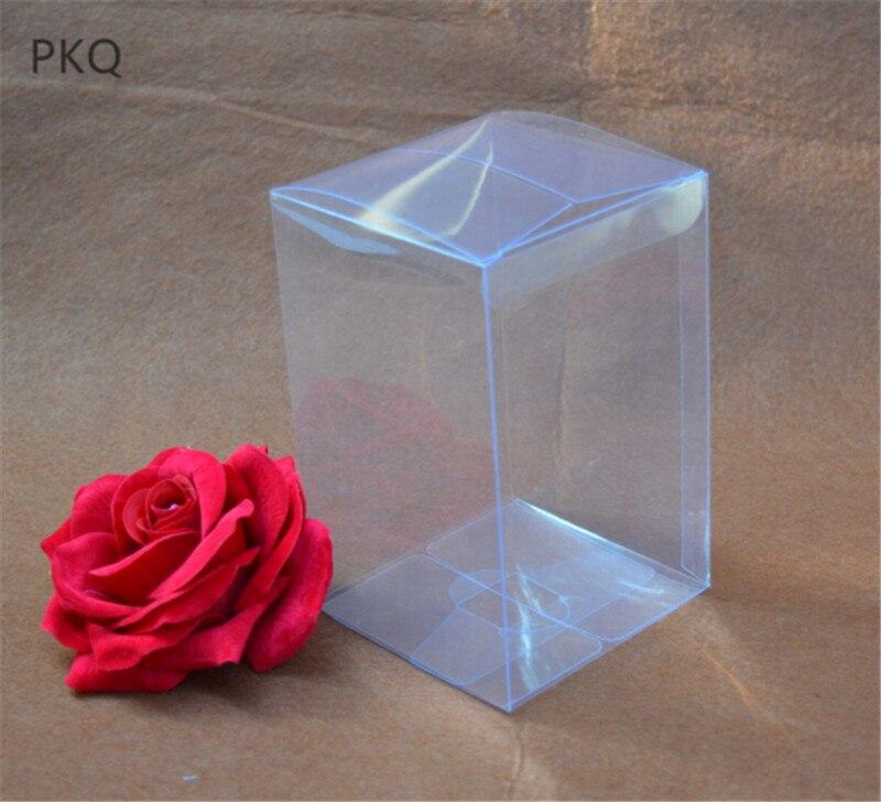 30pcs/lot 4*4*H cm Transparent PVC Storage Box Dry Flower Packaging Display Box Party Wedding Favor Decoration Box