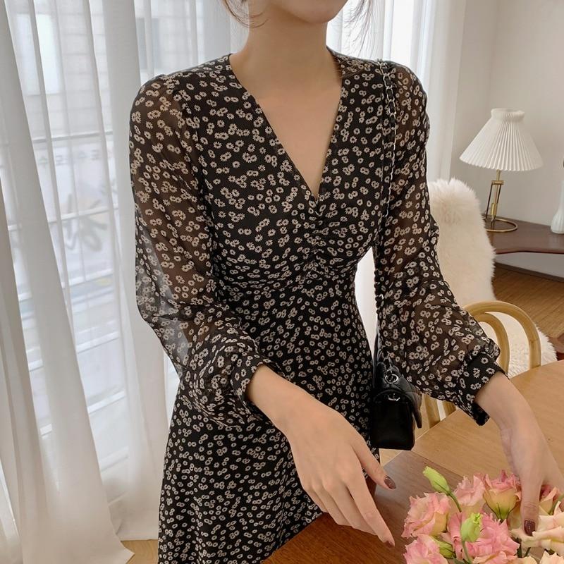 ملابس نسائية للربيع والخريف موضة كورية نمط فستان بأكمام طويلة زهري فستان للسيدات