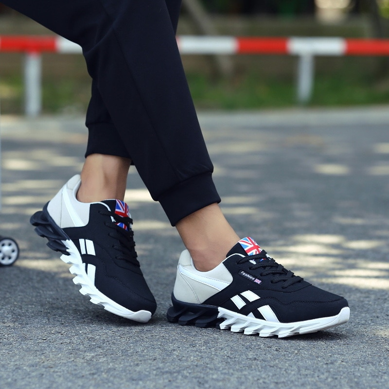 Men Running Shoes Spring PU leather Blade Sneakers High Quality Outdoor Light Breathable Sport Athletic Men Shoes Male Sneakers
