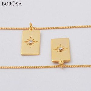 BOROSA High Quality 18K Gold Eight Star with Zircon Chain Necklace, 18inch Gold Metal Pendant Necklace for Women WX1779