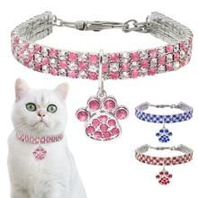 Collier en strass pour chiens 20/25/33CM   Produits mignons pour chiens bleu/rouge/rose, collier ajustable pour petits chiens moyens chats D40