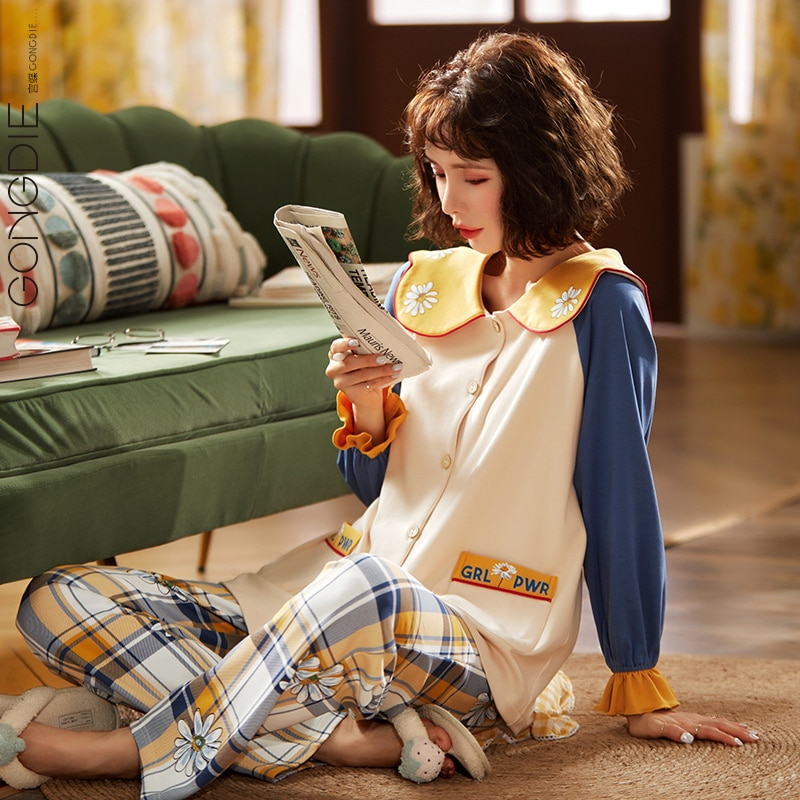 Gongdie Pajamas Female Spring and Autumn Cotton Long Sleeve Thin Suit Little Daisy Plaid Pants gong