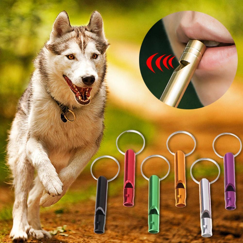 Accesorios de flauta de aluminio para cachorros que dejan de ladrar, juego de rompecabezas portátil, Juguetes Divertidos para gatos y mascotas, silbato de entrenamiento