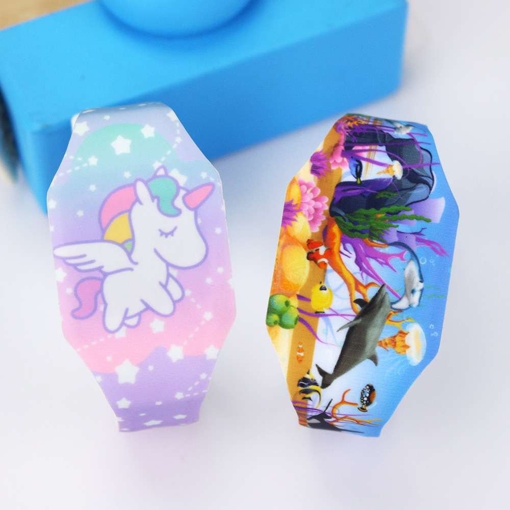 New Luminous Unicorn Child Watches For Girl Ocean World LED Watch Kids Student Electronic Watch Cloc