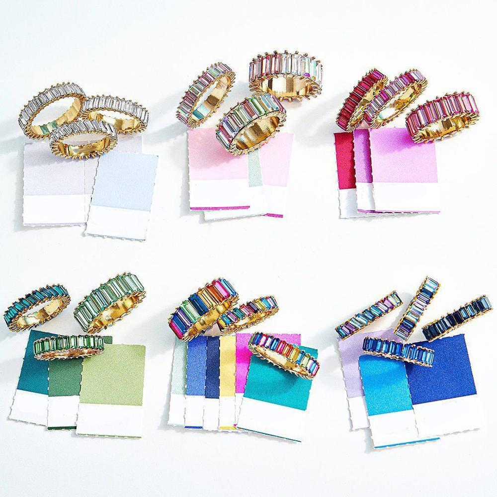 Dvacaman boho casamento multicolorido strass anéis de promessa para mulher menina clássico redondo arco-íris cz pilha magro anéis de presente de noiva