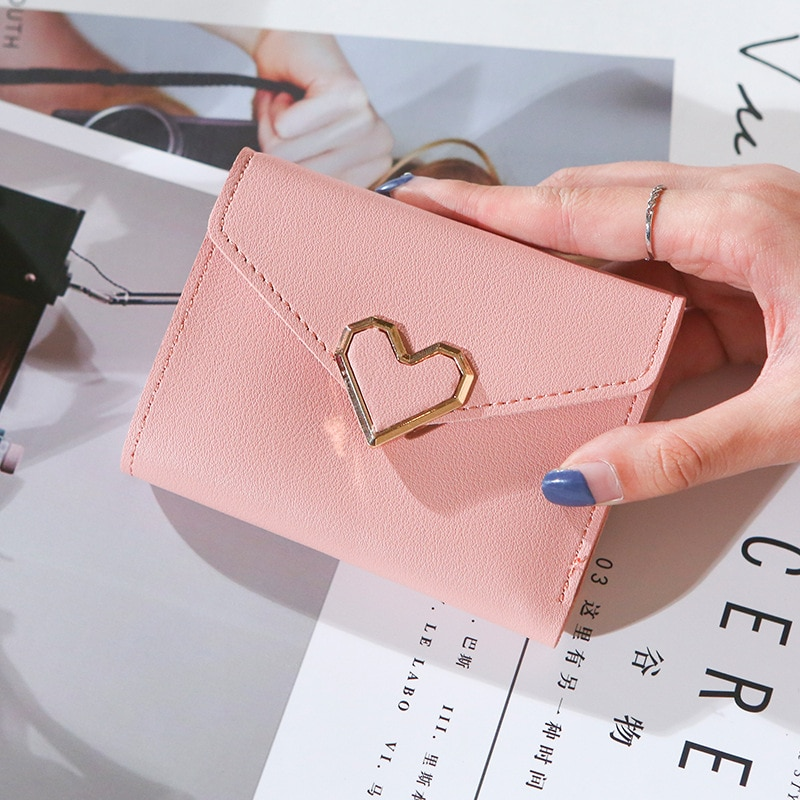 Ladies Portable New Retro Small Metal Heart-shaped Short Wallet Student Wallet Clutch Purse Card Hol