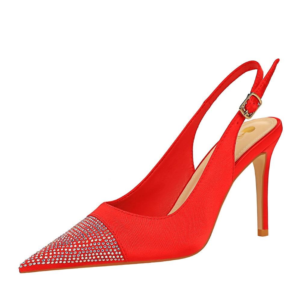 Туфли на высоком каблуке, атласные туфли на шпильке, с открытым носком, с открытой спиной и ремешком, летние туфли