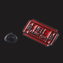 Red Hell Admit One 666 Letter Enamel Backpack Brooches For Women Men Shirt Bag Lapel Pin Creativity
