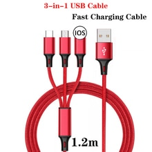 3 In 1 USB Charging Cable For Samsung Xiaomi Huawei Apple Mobile Phone USB Type C Fast Charger Table