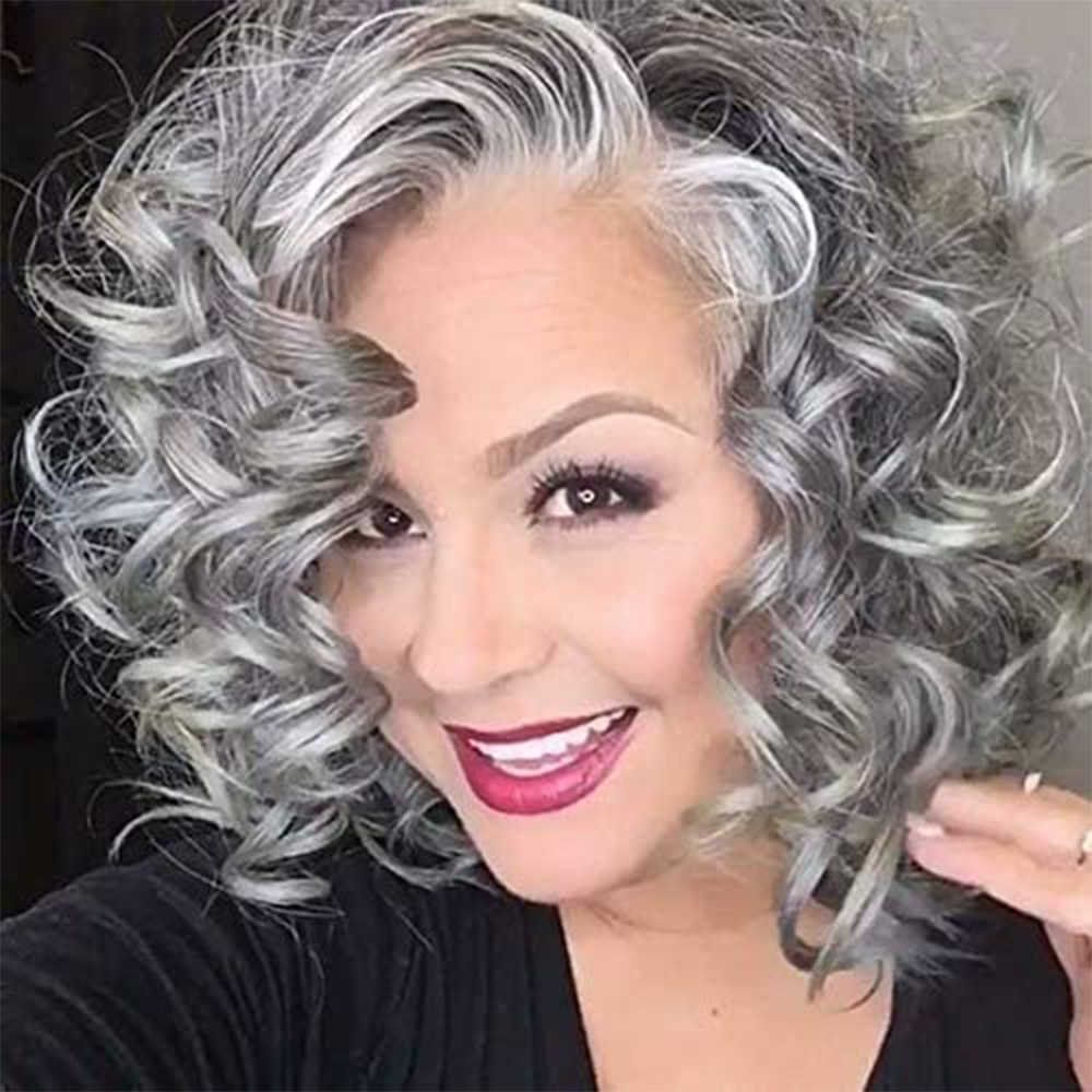 Beach Wave Grey Short Bob Hair Synthetic Lace Front Wig Side Parting Silver Gray Short Wavy Bob Wigs for Women