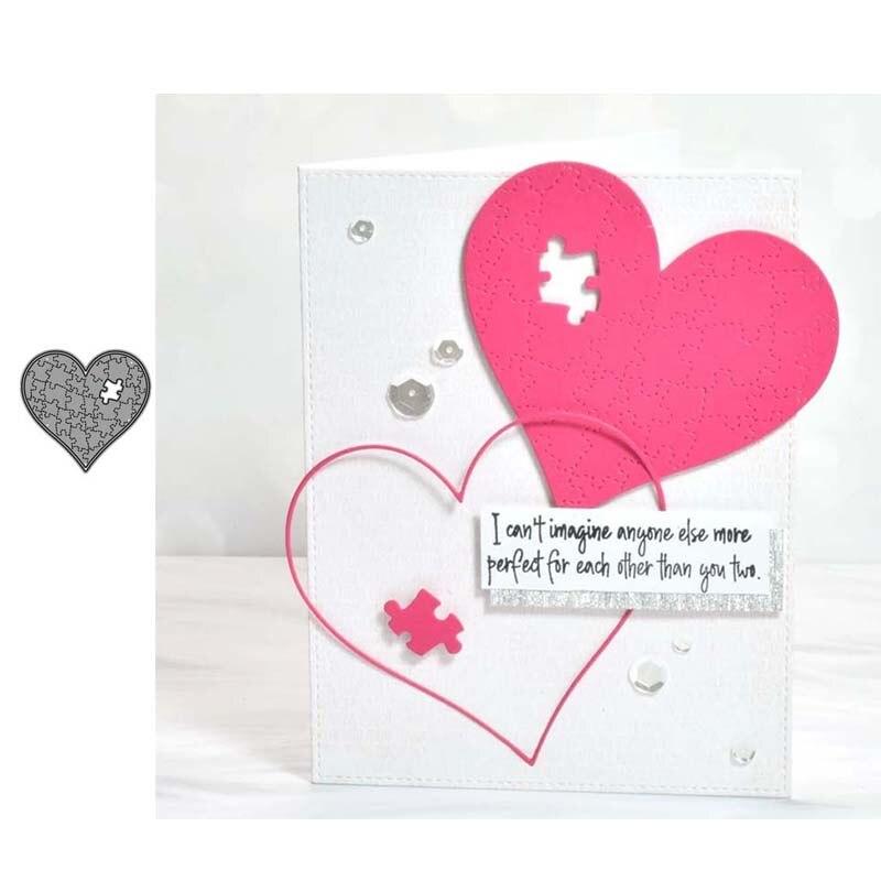 JC Новый дизайн сердце головоломки металлический Трафаретный вырубной штамп ремесло Скрапбукинг высечки Бумага карты сделать Форма трафар...