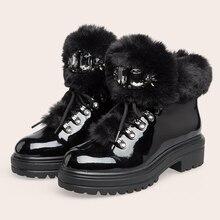 Las mujeres de invierno nieve botas 2020 Piel negra de cuero de plataforma de diamantes de imitación botas de tobillo de Damas nueva de lujo zapatos
