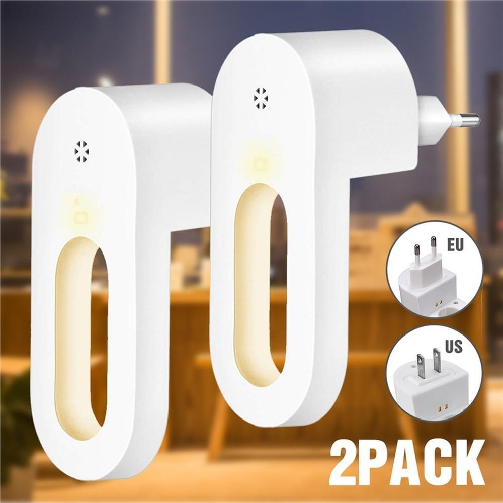 2 pçs plug-in luz noturna branco quente led night light sensor de luz para o quarto banheiro cozinha corredor escadas ue/eua plug jq