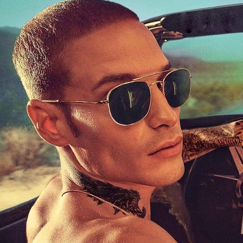 Fashion Vintage Square Metal Aviation Style Sunglasses Men Classic Gradient Brand Design Sun Glasses