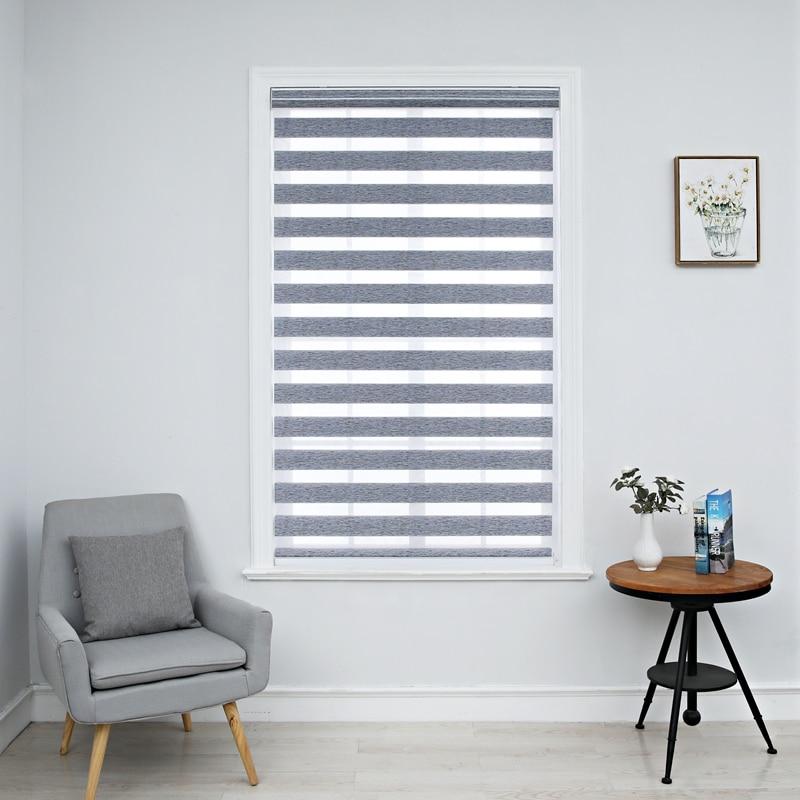 Zebra persianas janela horizontal sombra dupla camada cortinas de rolo janela corte personalizado para tamanho cor cinza cortinas para sala estar