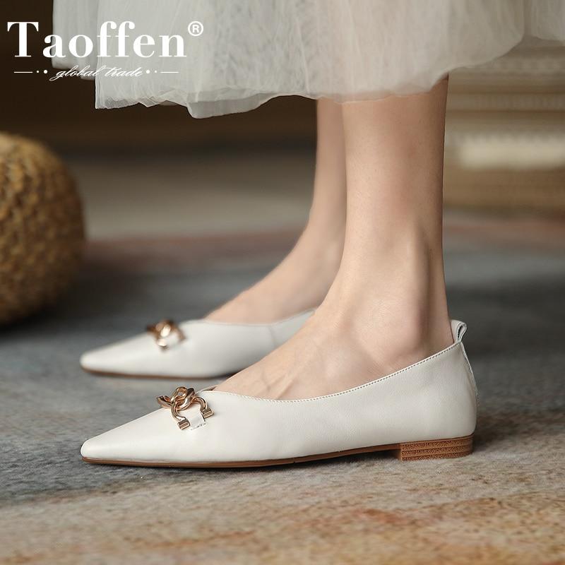 Taoffen 2021 المرأة ريال أحذية من الجلد الشقق المرأة مثير أشار حذاء مزود بفتحة للأصابع المرأة تصميم الانزلاق على مكتب العمل الأحذية حجم 34-43