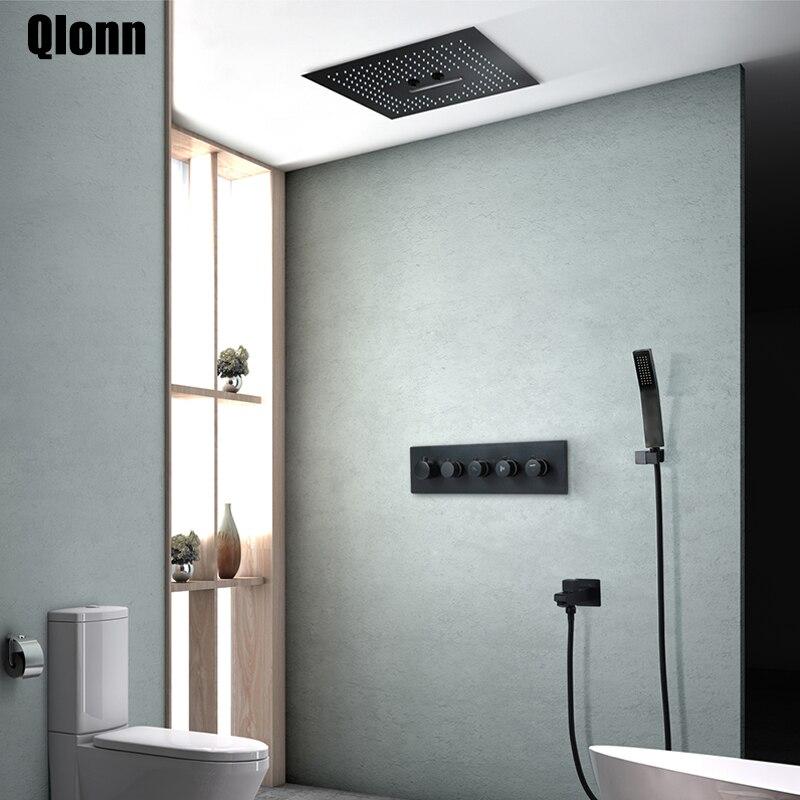 Robinet de douche système de douche brouillard pluie   Robinet de salle de bains, ensemble thermostatique de la salle de bains, robinet de douche en laiton