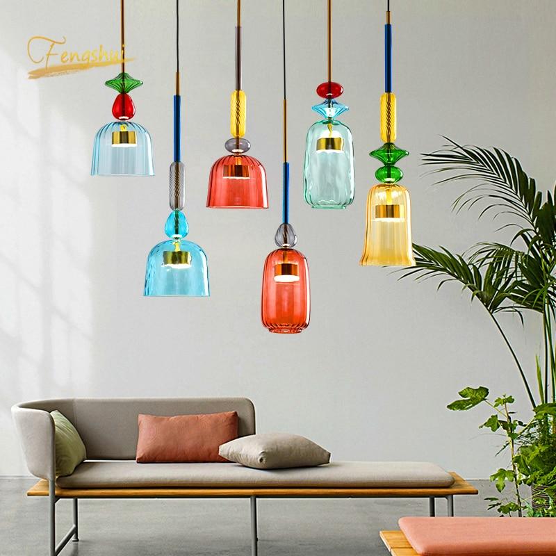 Macaron moderno led luzes pingente de vidro iluminação quarto sala estar interior loft moderno pingente lâmpada restaurante decoração interior