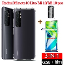 3-в-1;безопасности чехлы для Redmi Mi Note10 Lite Mi 10 pro MI10 чехлы крышка камеры пленка гидрогелевая пленка не стекло Mi 10pro 10lite прозрачные мягкие чехлы ...