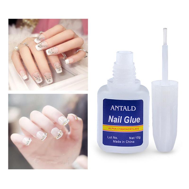10g Fast Drying Nail Glue with Brush for False Nails Glitter Rhinestones 3D Decoration Makeup Cosmet