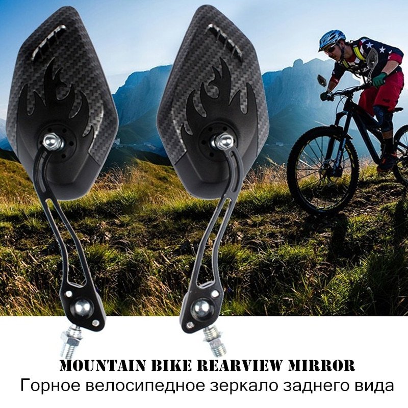 Espejo retrovisor para bicicleta de montaña, 1 par, 3k, con diseño de carbono, para manillar de bicicleta, espejo de seguridad reflectante 360 giratorio