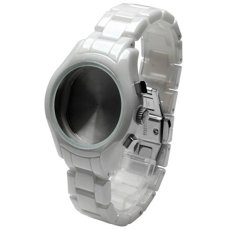 عالية الجودة السيراميك مربط الساعة و حالة ل AR1404 ووتش حزام مع فراشة المشبك 18 مللي متر الأبيض المرأة سوار