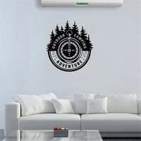 fashion camping adventure wall decal outdoor words travel fir tree wall sticker art mural vinyl revocable dw9789