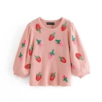 knitted strawberry sweater female sweater pink winter autumn woman 2020 womens long sweater knit pullover sweaters for women