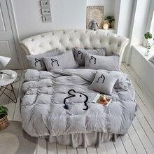 Ensemble de literie rond hiver motif lapin   4 pièces, literie rembourrée en velours, Plus jupe de lit en peluche, couverture de lit solide en molleton de corail