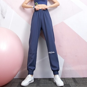 Loose sports pants, women's buckle feet, thin, casual trousers, outdoor running pants, high waist fitness pants, health pants