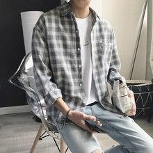 Nowa bawełniana odzież w stylu koreańskim moda Streetwear wiosna lato jesień Slim Fit Plaid koszula męska z długim rękawem S-3XL