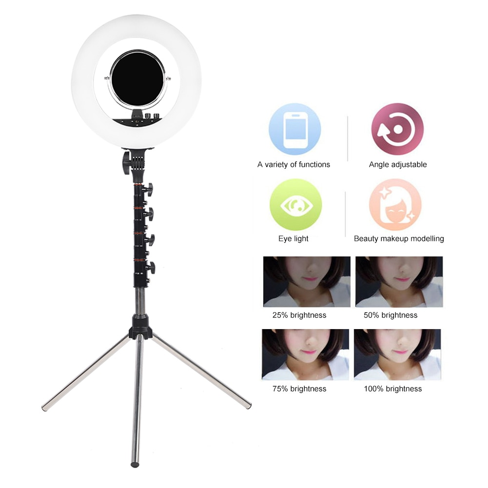 18Inch LED Ring Light Cold Warm Light Color Temperature Ring Light with Tripod Black