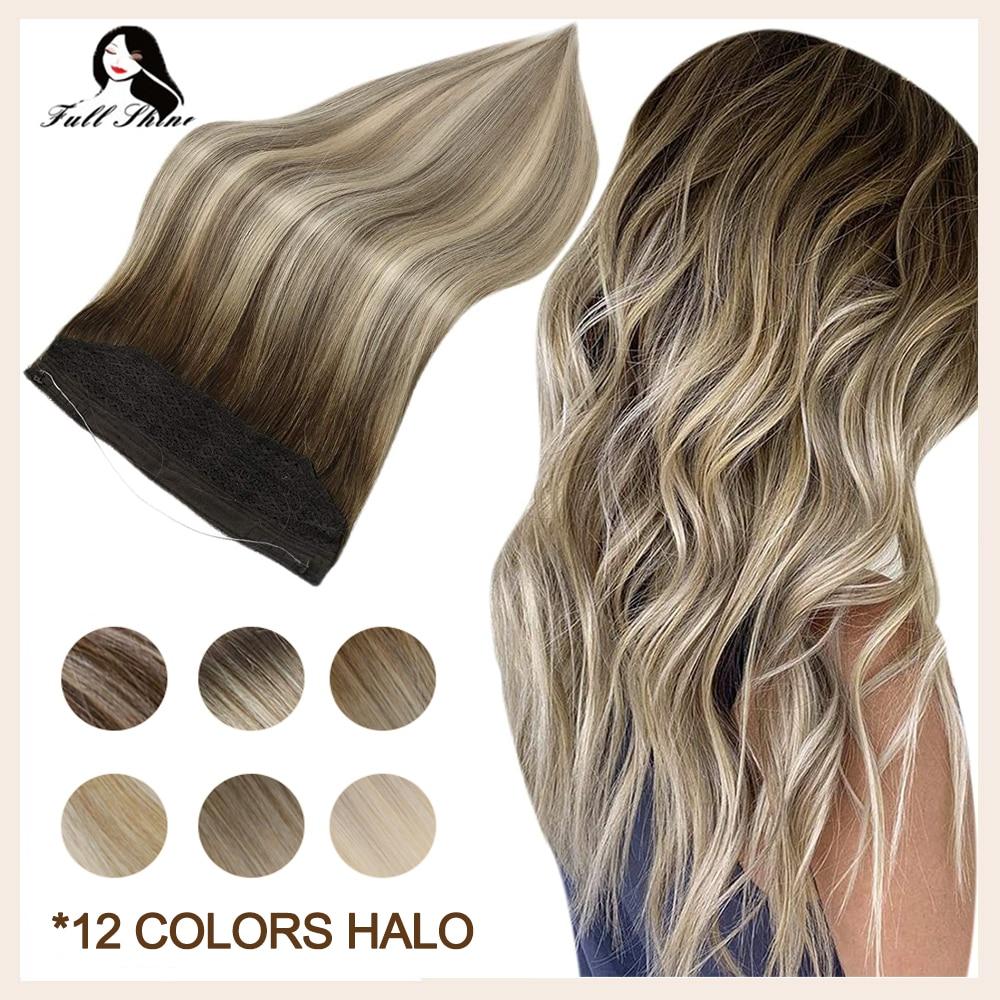 وصلات شعر بشري غير مرئية ، قطعة واحدة ، لامعة بالكامل ، خط السمك ، هالو ملون ، 100% شعر ريمي