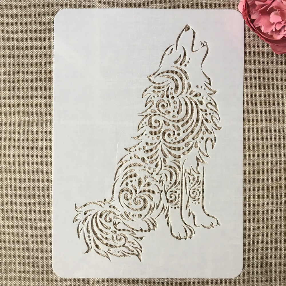 A4 29cm Wolf Cry DIY Layering Stencils Painting Scrapbook Coloring Embossing Album Decorative Template cry wolf