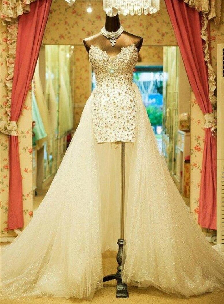 2020 venda quente querida vestidos de casamento trem destacável vintage plus size frisado cristal vestido de noiva