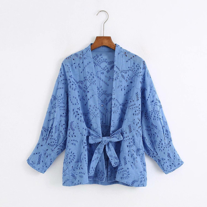 2020 Spring Summer New Hollow Embroidered blue Shirt goth zaraing vadiming sheining zanzeaing Women' blouse Shirt C2146