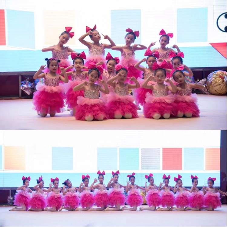 Children's Latin dance jazz dance ballet stage costume girl dance sequins puffed princess dress stage performance costumes