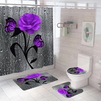 colorful rose trees shower curtain sets non slip rugs toilet lid cover and bath mat waterproof bathroom curtains home decoration