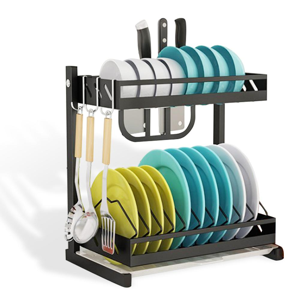 2-layers Drainer Dish Drying Rack Stainless Steel Storage Rack Tableware Organizer Kitchen Tools For Bowl Dishes Chopsticks