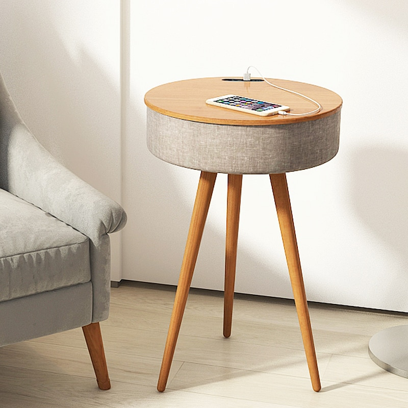 Home theater HIFI Bluetooth speaker wireless charging subwoofer small round table 4D stereo with LED sensor light sound box