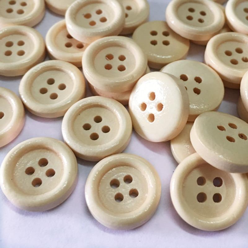 Cor sólida botão redondo de alta qualidade quatro buraco fivela de madeira diy acessórios roupas costura botão