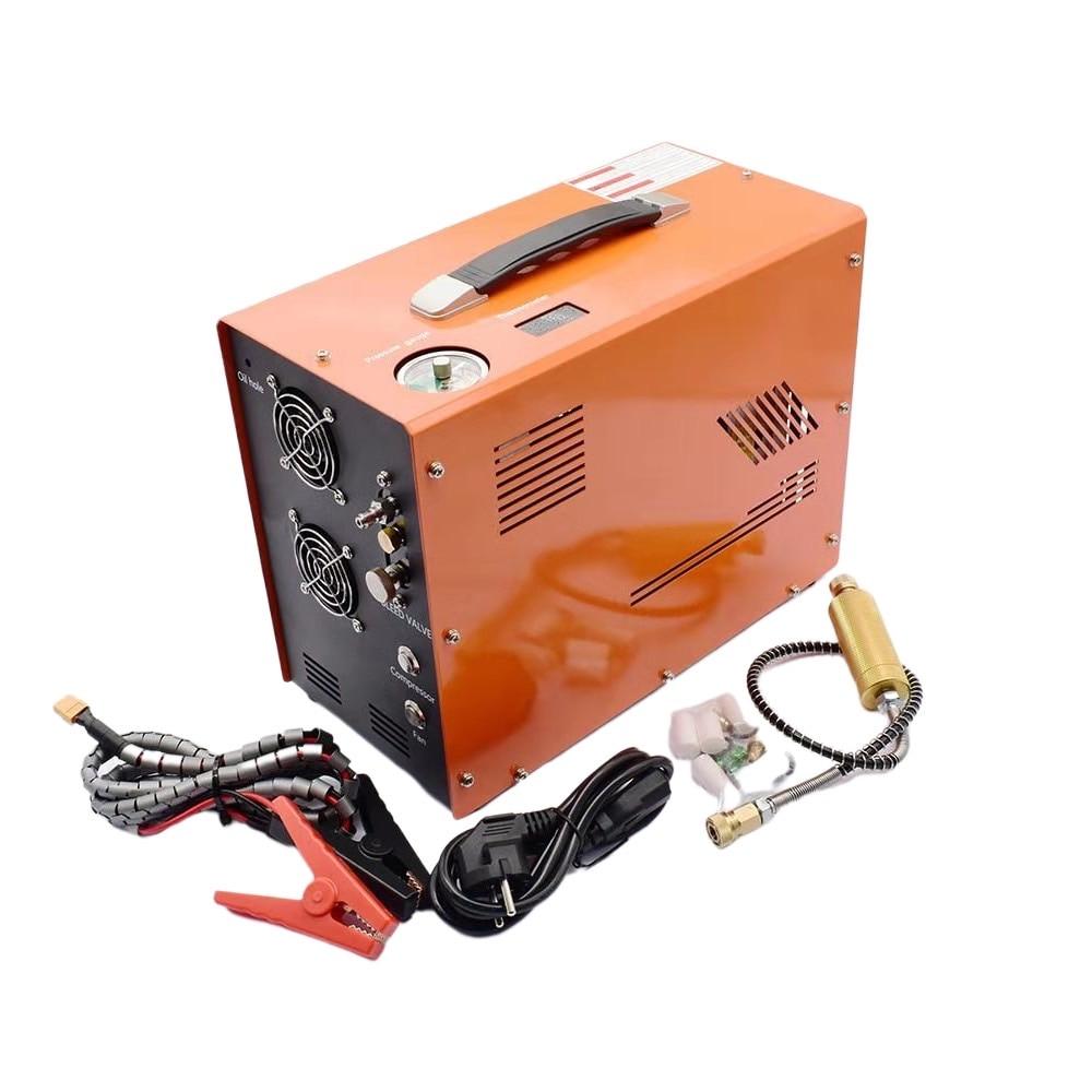 12 فولت 5000psi 400bar 40mpa PCP ضاغط الهواء السيارات مضخة صغيرة PCP مع 220 فولت محول مضخة عالية الضغط سيارة الصيد