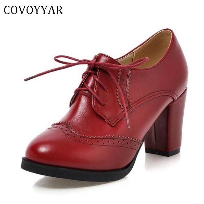 COVOYYAR 2021 خمر الدانتيل يصل النساء مضخات قطع أكسفورد أحذية صندل بكعب مكتنز براءات الاختراع والجلود عالية الكعب سيدة حذاء من الجلد WHH132