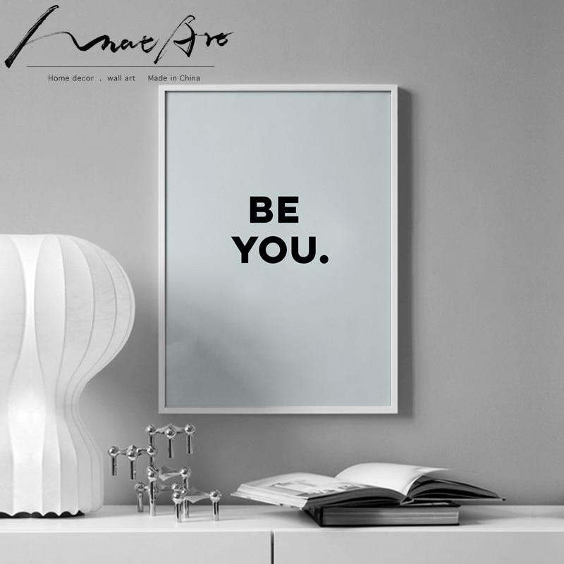 Póster de letras BE YOU, lienzo, arte de pared, decoración para sala de estar, decoración moderna para el hogar, arte minimalista
