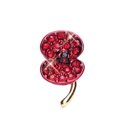 1 pulgada esmalte rojo amapola colección cristal Diamante solapa Pin
