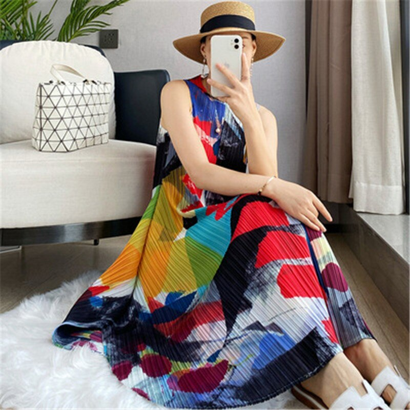 Miyake مطوي النساء فساتين الصيف أكمام بندول كبير الطباعة فستان طويل الكورية موضة فستان أنيق غير رسمي
