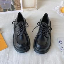 Internet Celebrity Retro Lace up British Style Leather Shoes Women's JK Uniform Spring New Dress Stu