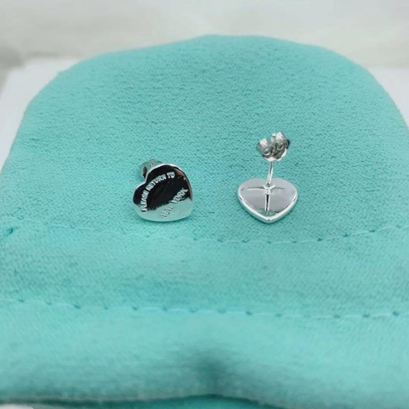 1: 1 925 пробы серебряные классические универсальные блестящие серьги в форме сердца с оригинальным логотипом, тонкая работа, праздничные подарки